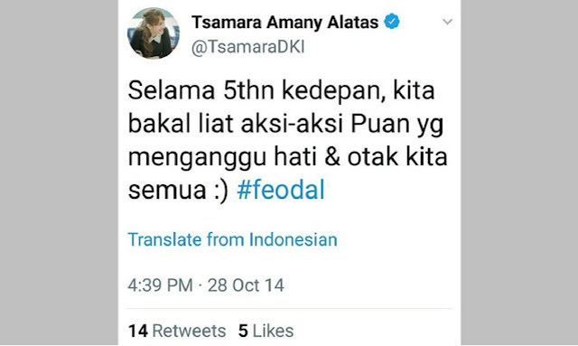 HEBOH! Beredar Twit Lama Tsamara tentang Puan, Don Adam: Ramalan Tsamara Ternyata Valid dan Terbukti