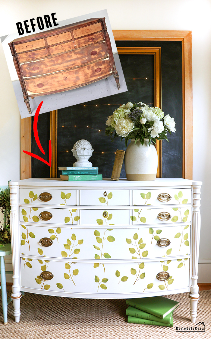 How to paint an old dresser adding an stenciled design