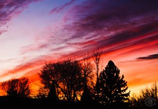 nature photograph of a multi-colored sunset with trees in silhouette in Pocatello, Bannock, Idaho by Cramer Imaging