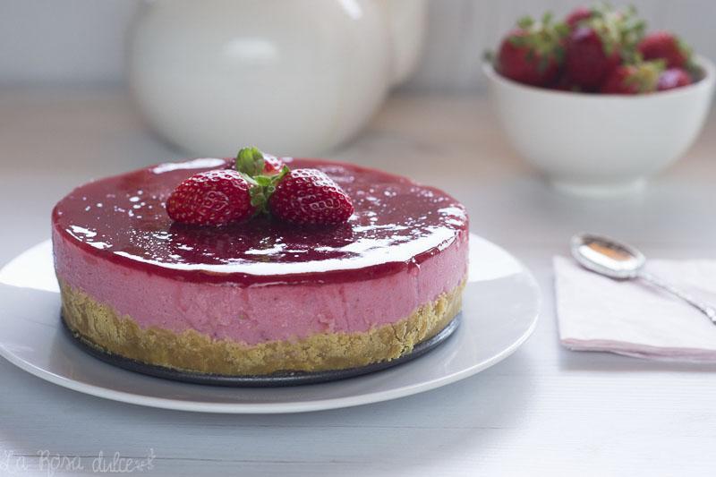 Tarta de yogur y fresas sin horno, sin lactosa y sin huevo | la Rosa dulce