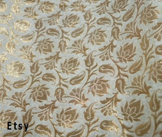 Brocado de seda pura de la India tejido a mano en telar
