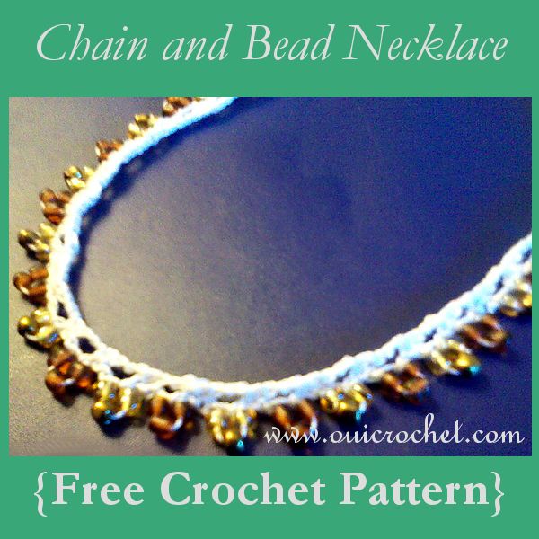 Crochet, Free Crochet Pattern, Crochet Necklace, Crochet Jewelry, Crochet Chain and Bead Necklace, Crochet with Beads,