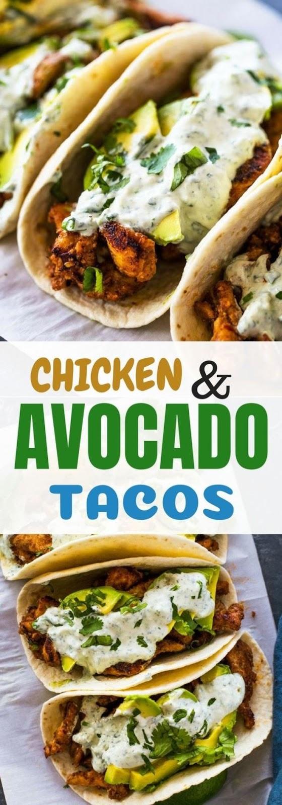 Chicken And Avocado Tacos With Creamy Cilantro Sauce