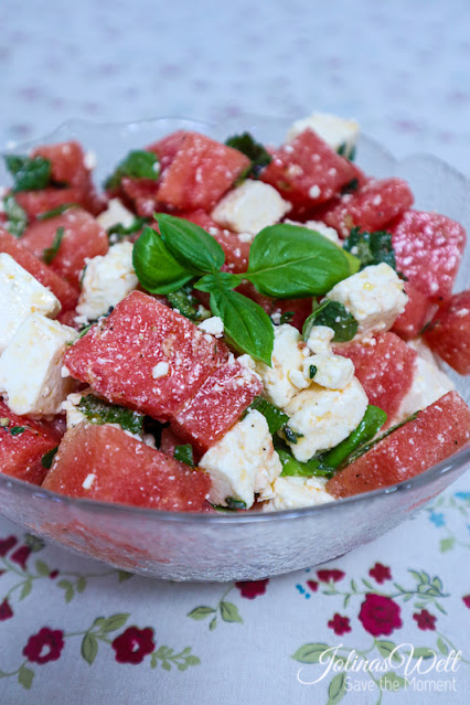 Melonen Feta Basilikum Salat zum BBQ