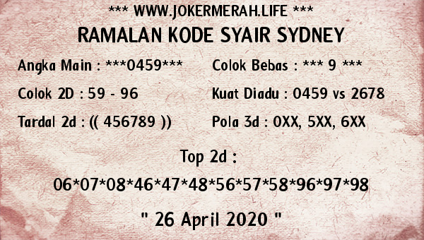 Prediksi Togel Sidney 26 April 2020 - Joker Merah Sidney