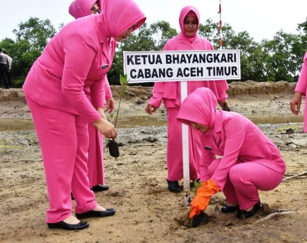 Ketua Cabang Bhayangkari Aceh Timur Hadiri Penanaman Mangrove di Julok