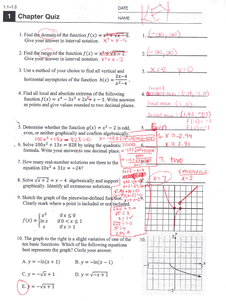 PreCalculus: Chapters P-2 Answers