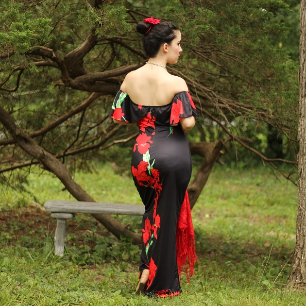 LovelyWholesale Red and Black Floral Maxi Dress