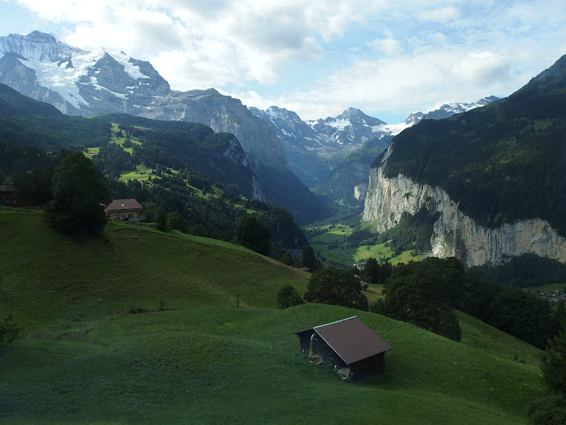 A view down to the Lauterbrunnen valley on the way up to Wengen