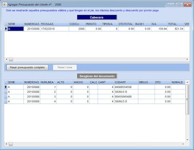 Selección de presupuestos o líneas para la creación de ordenes de reparación en el programa de taller mecánico