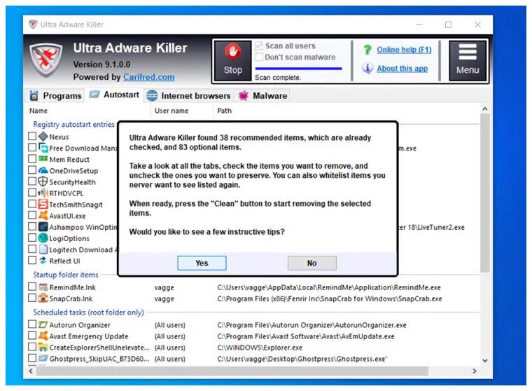 Ultra Adware Killer  : Ισχυρό εργαλείο αφαίρεσης adware και malware για τα Windows