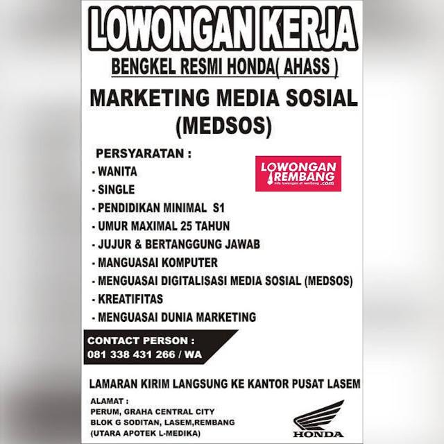 Lowongan Kerja Marketing Media Sosial Bengkel Resmi Honda (AHASS) Lasem Rembang