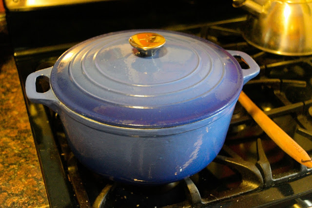 Dutch oven on stove with lid on it!