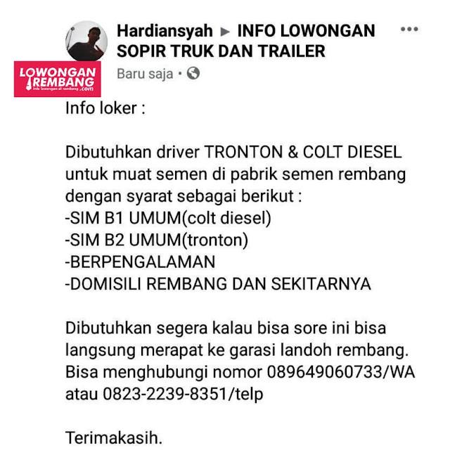 Lowongan Kerja Driver Sopir Tronton Dan Colt Diesel Cargo Varia Usaha Semen Gresik Indonesia Rembang
