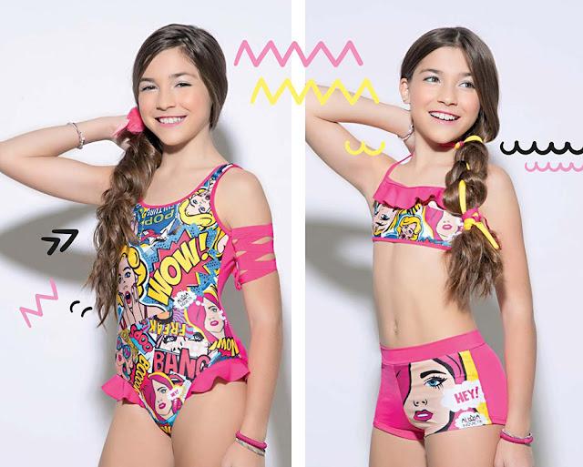 Mallas enteras, shorts, tops, bikinis para niñas 2018.