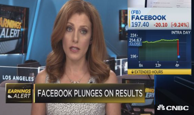 Facebook plunges more than 24 percent on revenue miss and projected slowdown