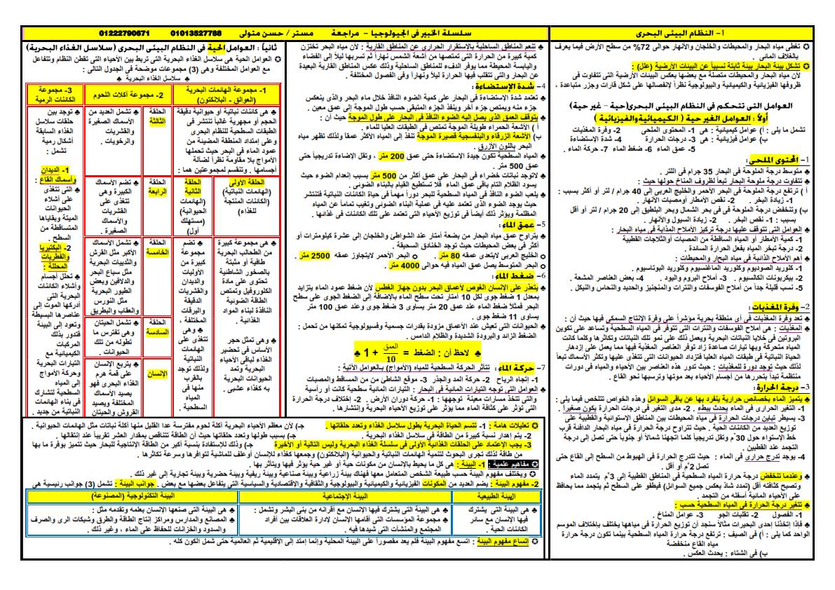 مراجعة ليلة امتحان الجيولوجيا والعلوم البيئية للثانوية العامة أ/ حسن متولي 777_013