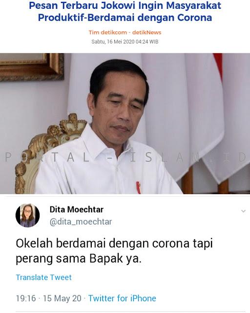 Tanggapi Ajakan Jokowi untuk Berdamai dengan Corona, Warganet: Okelah, Tapi Perang Sama Bapak Ya!