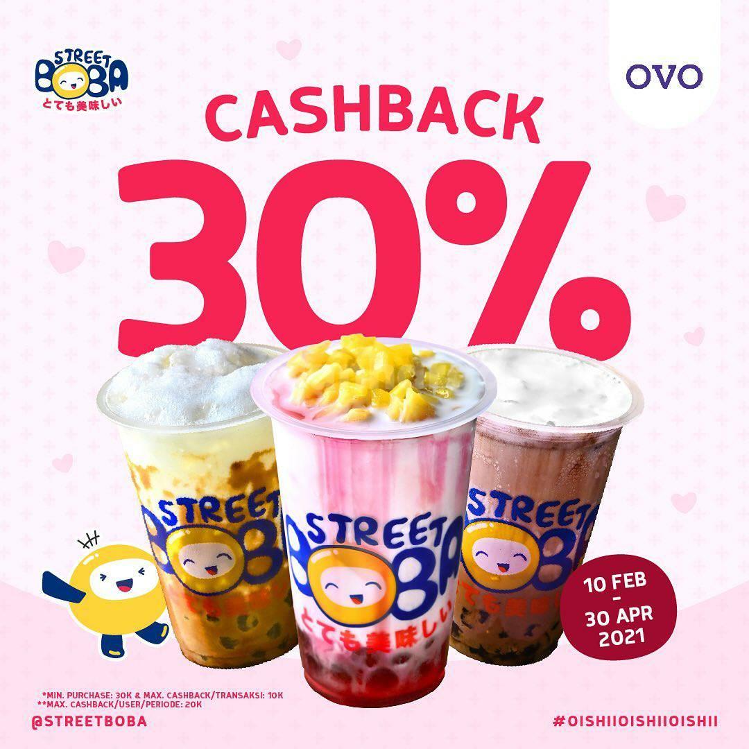 STREET BOBA Promo OVO! Spesial CASHBACK 30%