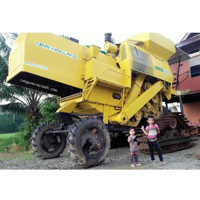 irfan, irfan hensem, mesin padi, pertama kali jumpa mesin padi, kampungku, kampung sawah padi, keindahan sawah padi
