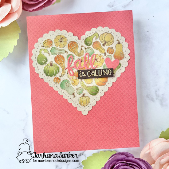 Fall is Calling Card by Farhana Sarker | Heartfelt Gourds Stamp Set and Heart Frames Die Set by Newton's Nook Designs #newtonsnook