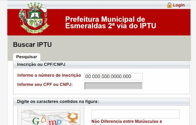 Segunda 2ª via IPTU esmeraldas MG