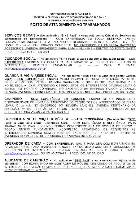 VAGAS DE EMPREGO DO PAT BARRETOS PARA 05-11-2020 PUBLICADAS DE MANHÃ - Pag. 6