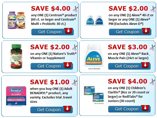 print centrum, Natures truth, benadryl, aleve, Claritin Coupons.