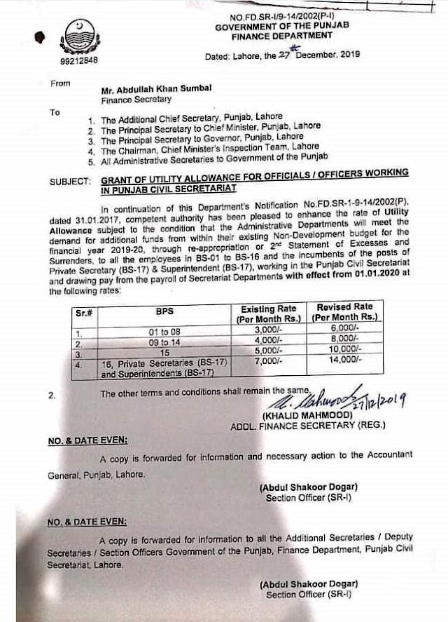 GRANT OF REVISED UTILITY ALLOWANCE FOR OFFICIALS / OFFICERS WORKING IN PUNJAB CIVIL SECRETARIAT