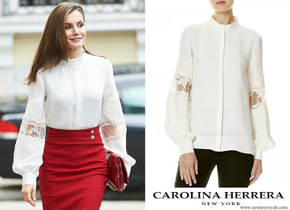 Queen Letizia wore Carolina Herrera Silk Blouse Spring 2017 Collection