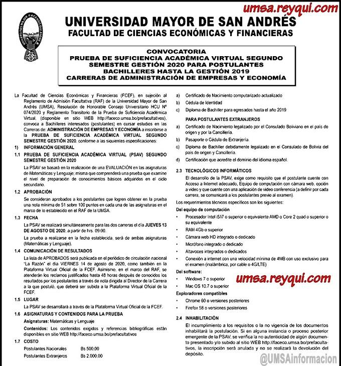 Administración de Empresas / Economía UMSA II/2020: Convocatoria a la Prueba de Suficiencia Académica Virtual