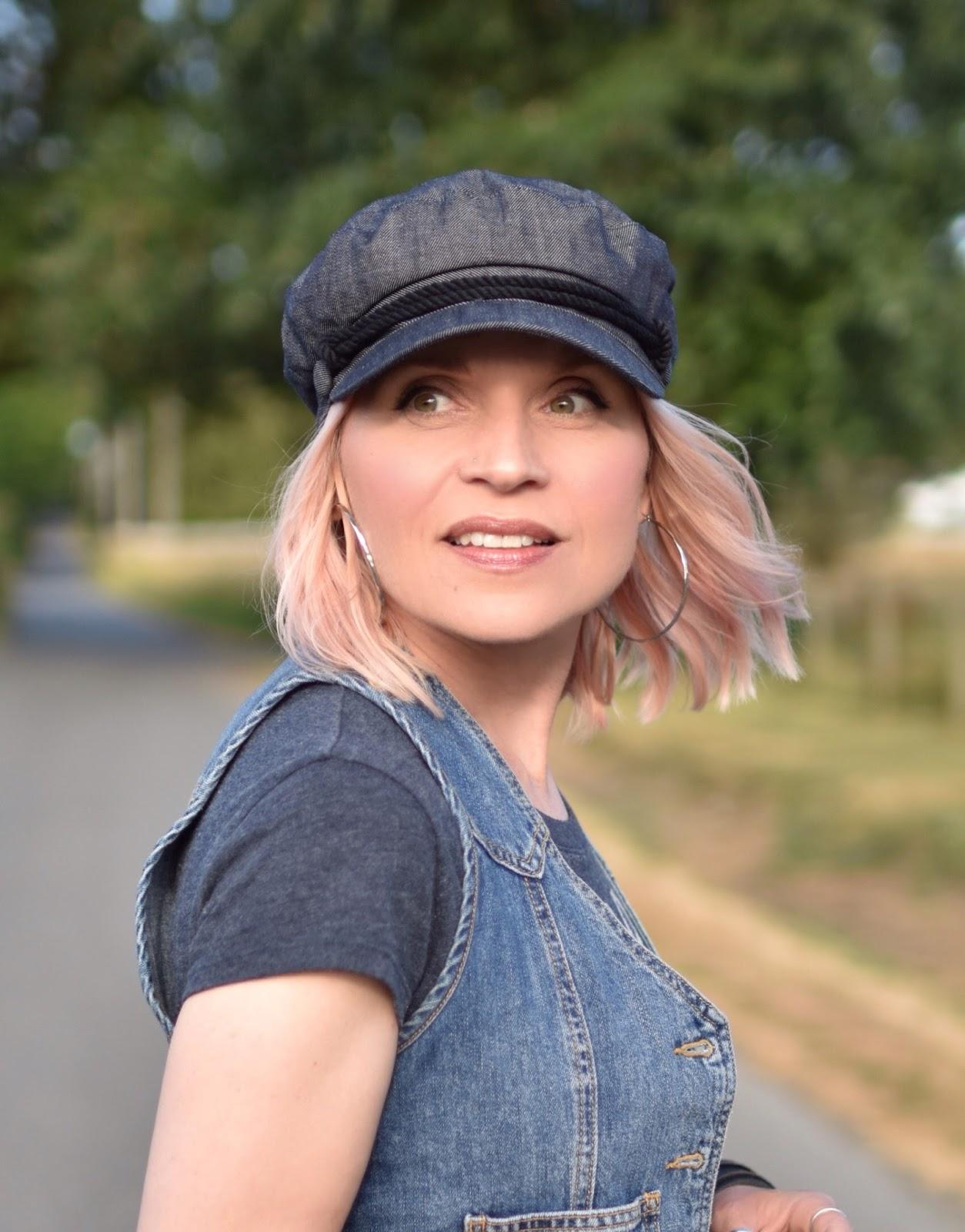 Monika Faulkner personal style inspiration - denim vest, baker boy cap