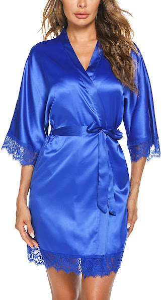 Women's Short Satin Robe With Lace Trim