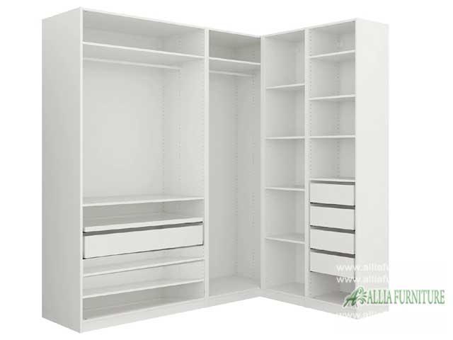 lemari pakaian sudut L minimalis stone