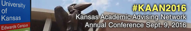 #KAAN2016 Kansas Academic Advising Network Annual Conference Sept. 9, 2016 with photo showing Jayhawk sculpture at KU Edwards Campus