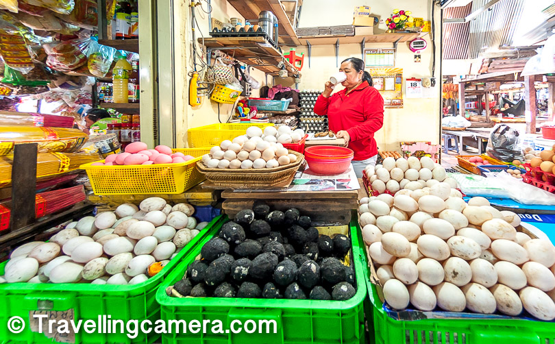 I had heard a lot about the non vegetarian raw material sold in Russian market. Above is a photograph of the shop where a lady was selling different kinds of eggs. It was hard for us you know the sources of these eggs from the shapes colours and size.
