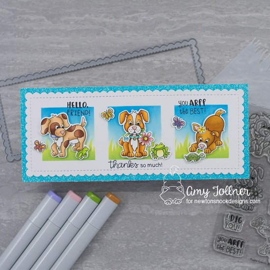 Thanks so much by Amy features Slimline Frames & Portholes, Masking Circles & Squares, Hills & Grass, Puppy Friends, Newton's Rainy Day, Woodland Spring, and Daffodils by Newton's Nook Designs; #inkypaws, #newtonsnook, #puppycards, #cardmaking, #thankyoucards