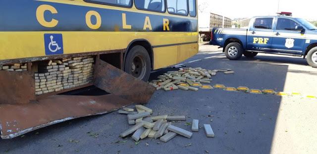 PRF encontra maconha em ônibus escolar falso no noroeste do Paraná