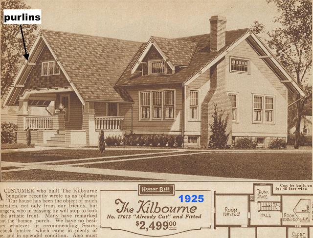 catalog image showing purlins, Sears Kilbourne 1925 sears modern homes catalog