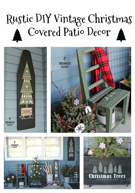 A Painted & Stenciled Crate In A Rustic Outdoor Christmas Display