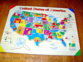 Wooden Puzzle Map of the USA
