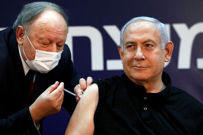 Israel's former Prime Minister Benjamin Netanyahu receiving his COVID-19 immunization