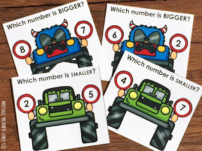 Practice bigger and smaller numbers to 10 with these fun monster truck clip cards!