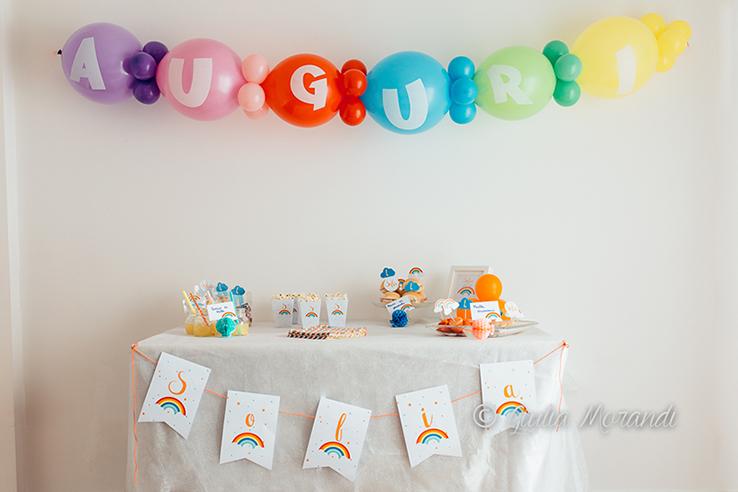 compleanno a tema arcobaleno