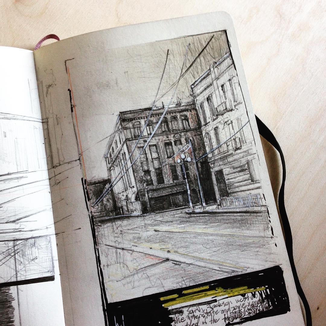 13-South-Jackson-Street-Seattle-Jerome-Tryon-Observations-and-Ideas-in-Moleskine-Drawings-www-designstack-co