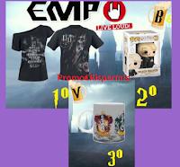 Logo Gioca e vinci gratis premi EMP ( maglietta, tazza e Funko Pop! Harry Potter)