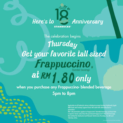 Starbucks Malaysia Anniversary Frappuccino Blended Beverage Discount Promo