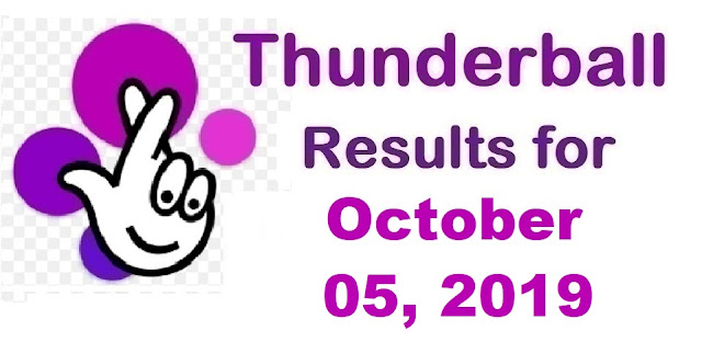 Thunderball Results for Saturday, October 05, 2019
