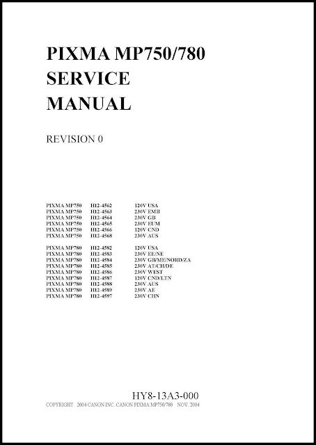 Canon Pixma MP750, MP780 Service Manual
