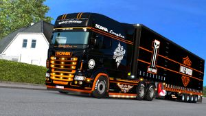 Harley Davidson skin & trailer for Scania RJL and T